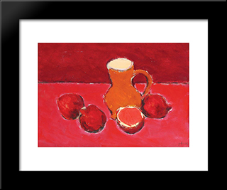 Still Life With Pomegranates: Modern Black Framed Art Print by Ion Pacea