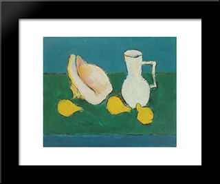 Still Life With Seashell And Fruit: Modern Black Framed Art Print by Ion Pacea