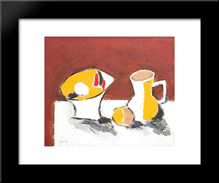 Still Life With Tazza And Jar: Modern Black Framed Art Print by Ion Pacea