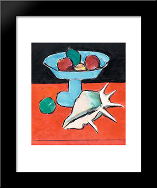 Still Life With Tazza And Seashell: Modern Black Framed Art Print by Ion Pacea