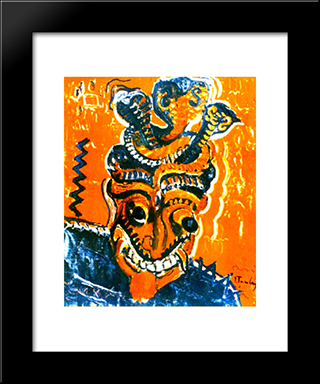 African Mask: Modern Black Framed Art Print by Ion Tuculescu