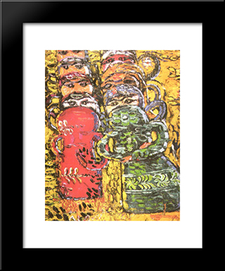 Composition Wtih Dolls: Modern Black Framed Art Print by Ion Tuculescu
