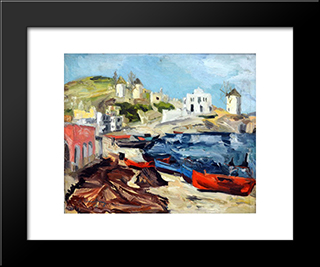 Landscape From Paros Island: Modern Black Framed Art Print by Ion Tuculescu