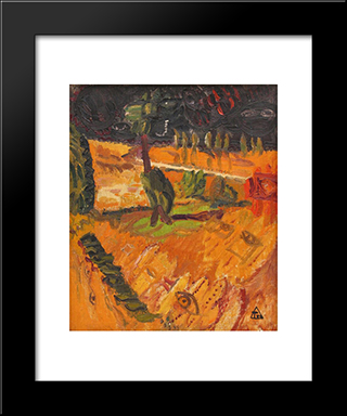 Landscape With Tree: Modern Black Framed Art Print by Ion Tuculescu