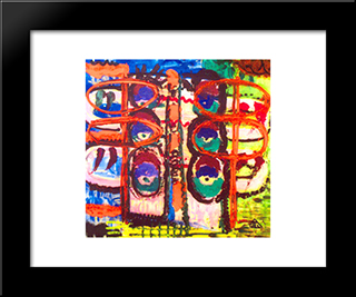Make - Up Box (The Green Eyes): Modern Black Framed Art Print by Ion Tuculescu