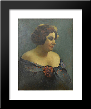 Portrait Of Actress Aura Fotino: Modern Black Framed Art Print by Ion Tuculescu