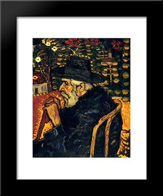 Portrait Of My Grandfather: Modern Black Framed Art Print by Ion Tuculescu