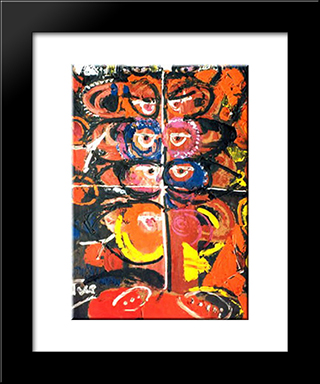 Relations In Orange: Modern Black Framed Art Print by Ion Tuculescu