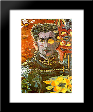 Self - Portrait On An Autumn Leave: Modern Black Framed Art Print by Ion Tuculescu