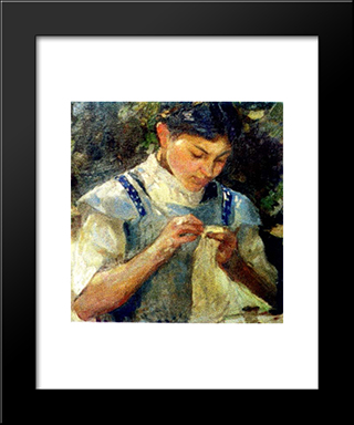 Girl Sewing: Modern Black Framed Art Print by Ipolit Strambu