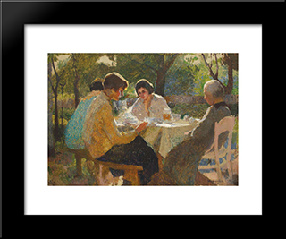 In The Garden: Modern Black Framed Art Print by Ipolit Strambu