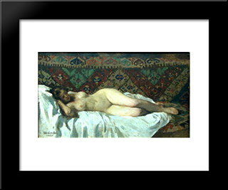 Nude With Carpet Background: Modern Black Framed Art Print by Ipolit Strambu