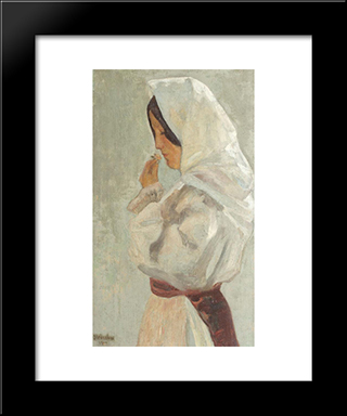 Peasant Woman: Modern Black Framed Art Print by Ipolit Strambu