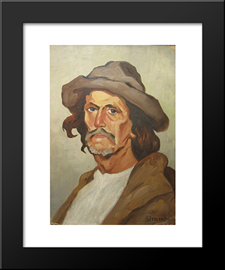 Portrait Of A Peasant: Modern Black Framed Art Print by Ipolit Strambu