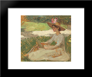 Reading In The Garden: Modern Black Framed Art Print by Ipolit Strambu