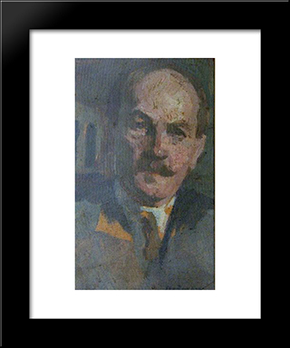 Self-Portrait: Modern Black Framed Art Print by Ipolit Strambu