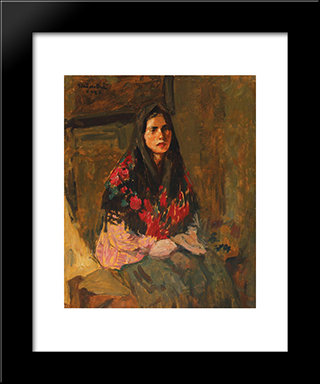The Flowery Headscarf: Modern Black Framed Art Print by Ipolit Strambu
