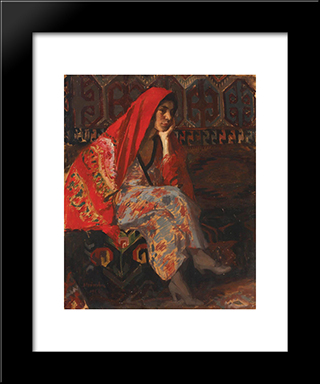 The Red Headscarf: Modern Black Framed Art Print by Ipolit Strambu