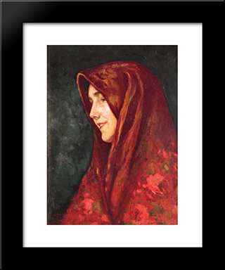 The Red Scarf: Modern Black Framed Art Print by Ipolit Strambu