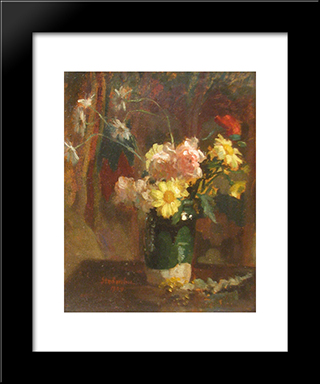 Vase With Flowers: Modern Black Framed Art Print by Ipolit Strambu