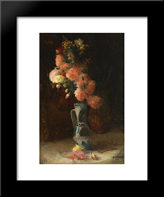 Vase With Roses And Chrysanthemums: Modern Black Framed Art Print by Ipolit Strambu