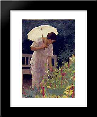 Woman With Umbrella: Modern Black Framed Art Print by Ipolit Strambu