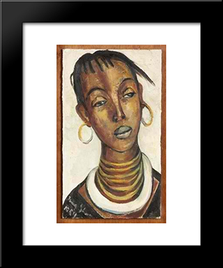 An African Woman: Modern Black Framed Art Print by Irma Stern