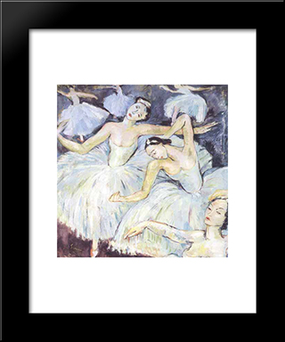 Ballet Dancers: Modern Black Framed Art Print by Irma Stern