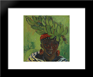 Banana Carrier: Modern Black Framed Art Print by Irma Stern
