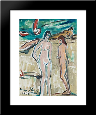 Bathers: Modern Black Framed Art Print by Irma Stern