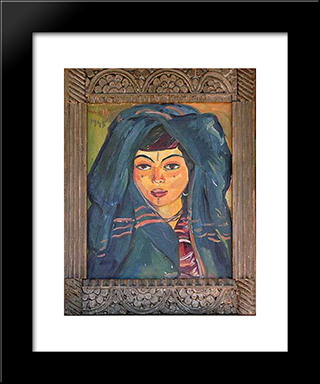 Berber Girl: Modern Black Framed Art Print by Irma Stern