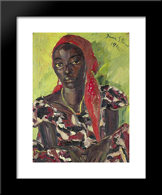 Congolese Beauty: Modern Black Framed Art Print by Irma Stern