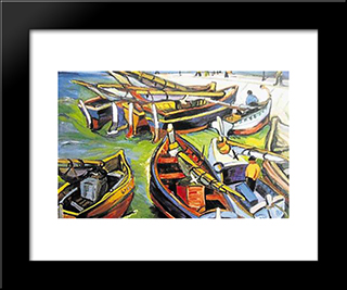 Fishing Boats: Modern Black Framed Art Print by Irma Stern