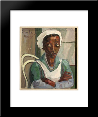 Maid In Uniform: Modern Black Framed Art Print by Irma Stern