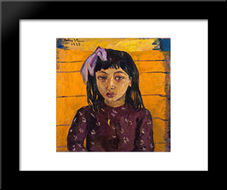 Malay Girl: Modern Black Framed Art Print by Irma Stern
