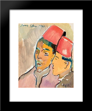 Men In Red Fezzes: Modern Black Framed Art Print by Irma Stern