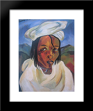 Portrait Of A Pondo Woman: Modern Black Framed Art Print by Irma Stern