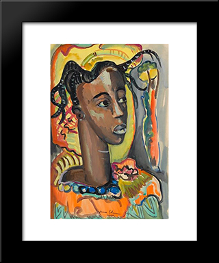 Portrait Of A West African Girl: Modern Black Framed Art Print by Irma Stern