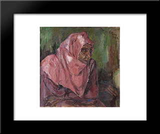 Portrait Of A Woman Wearing A Pink Hijab: Modern Black Framed Art Print by Irma Stern