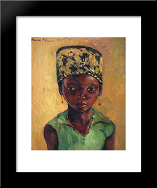 Portrait Of A Young Girl: Modern Black Framed Art Print by Irma Stern
