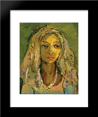 Portrait Of A Young Malay Girl: Modern Black Framed Art Print by Irma Stern
