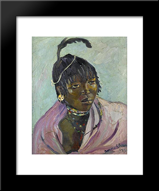 Portrait Of A Young Mpondo: Modern Black Framed Art Print by Irma Stern