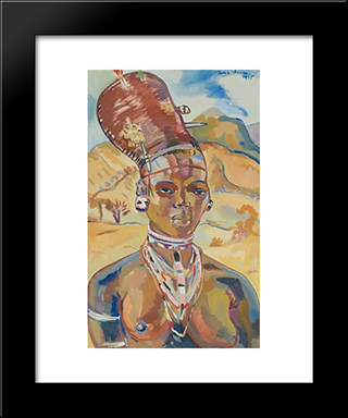 Portrait Of A Zulu Woman: Modern Black Framed Art Print by Irma Stern