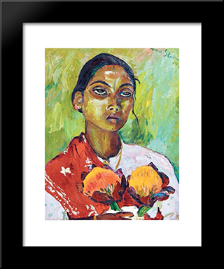 Portrait Of An Indian Woman: Modern Black Framed Art Print by Irma Stern