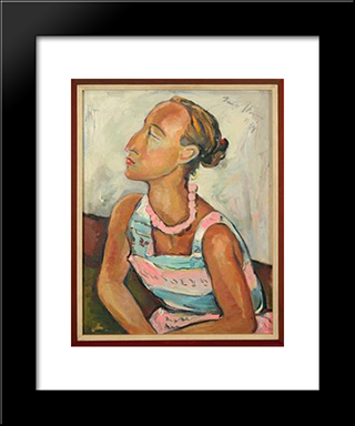 Portrait Of Helene Kriel: Modern Black Framed Art Print by Irma Stern