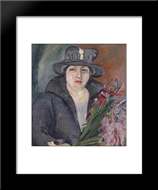 Portrait Of Irma Stern'S Mother: Modern Black Framed Art Print by Irma Stern