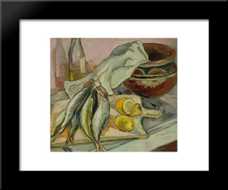 Still Life With African Pot: Modern Black Framed Art Print by Irma Stern