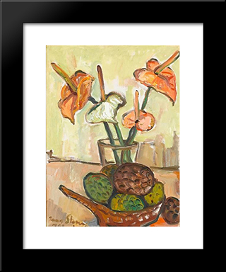 Still Life With Anthuriums And Fruit: Modern Black Framed Art Print by Irma Stern