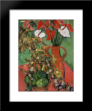Still Life With Antirrhinums: Modern Black Framed Art Print by Irma Stern