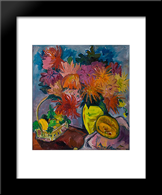Still Life With Dahlias And Fruit: Modern Black Framed Art Print by Irma Stern